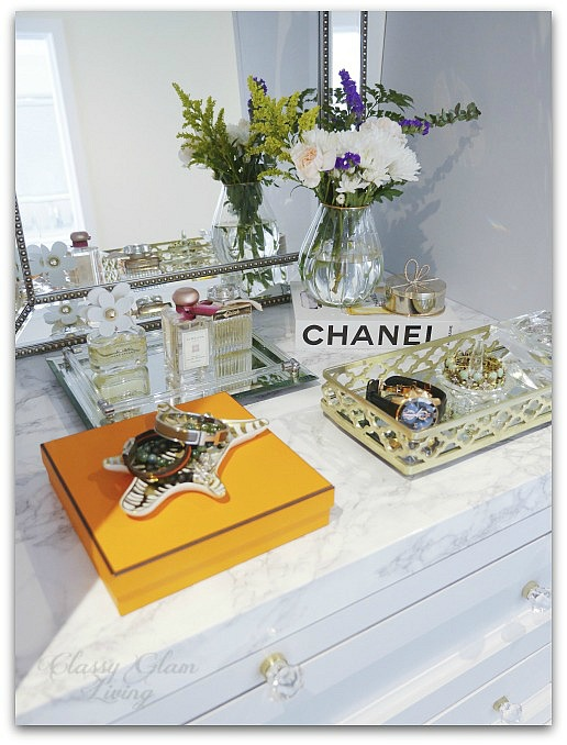 DIY Custom Dressing Room | Marble vanity counter top styling flowers Hermes perfume jewelery | Classy Glam Living