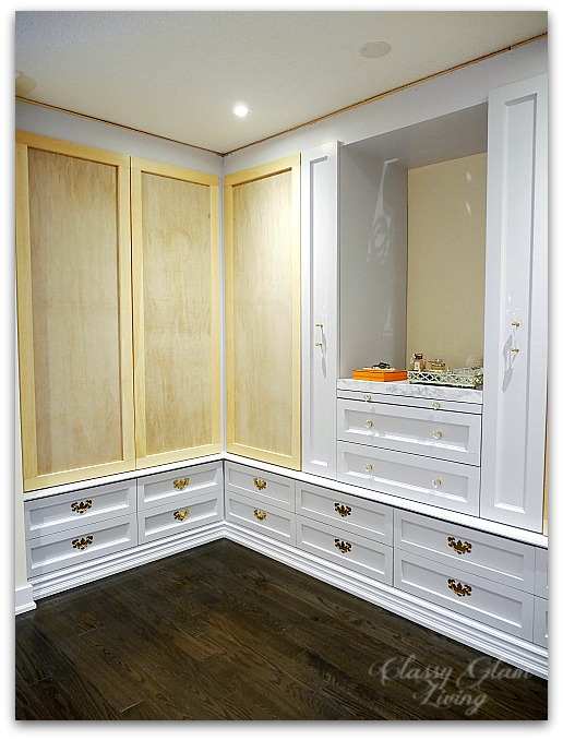 DIY Custom Dressing Room Walk-in Closet | Closet doors installed | Youtube Tutorial | Classy Glam Living