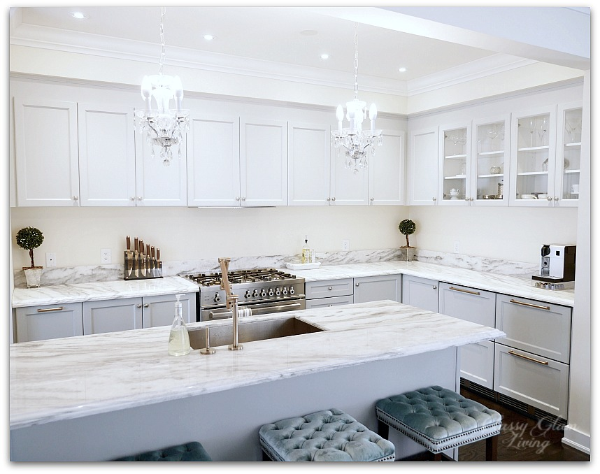 New House Kitchen Update Glass Knobs & Bronze Pulls Before Photo | Classy Glam Living