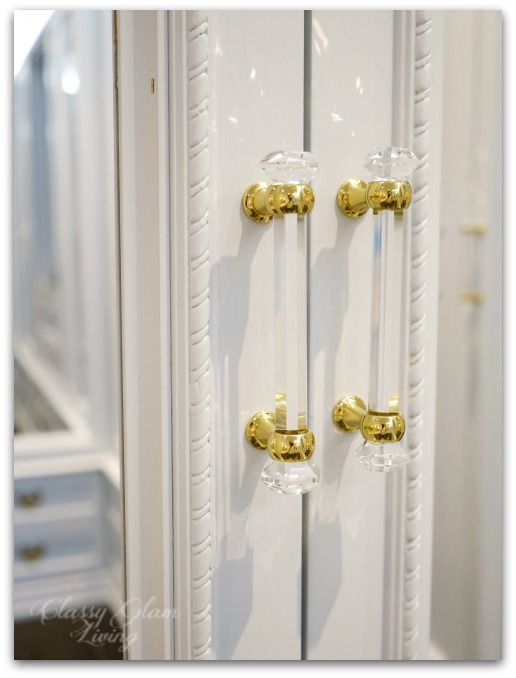 DIY Custom Dressing Room Walk-in Closet | Closet door trim detail, cabinet hardware | Classy Glam Living
