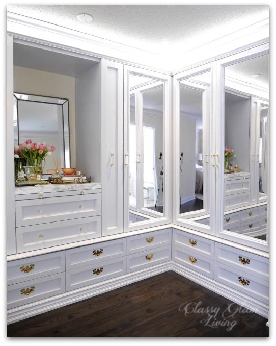 DIY Custom Dressing Room Walk In Closet   Closet Design Crown Moulding And  Trim Detail