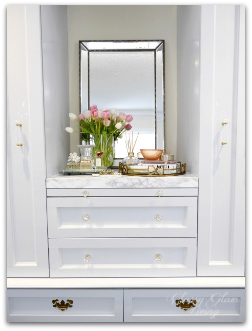 DIY Custom Dressing Room Walk-in Closet | Closet design, built-in vanity with pull-out folding table, and pull-out side racks | Vanity marble counter top styling Hermes perfume jewelry tray | Classy Glam Living