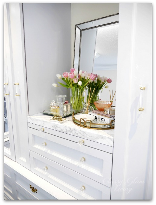 DIY Custom Dressing Room Walk-in Closet | Closet design, built-in vanity with pull-out folding table, and pull-out side racks | Classy Glam Living