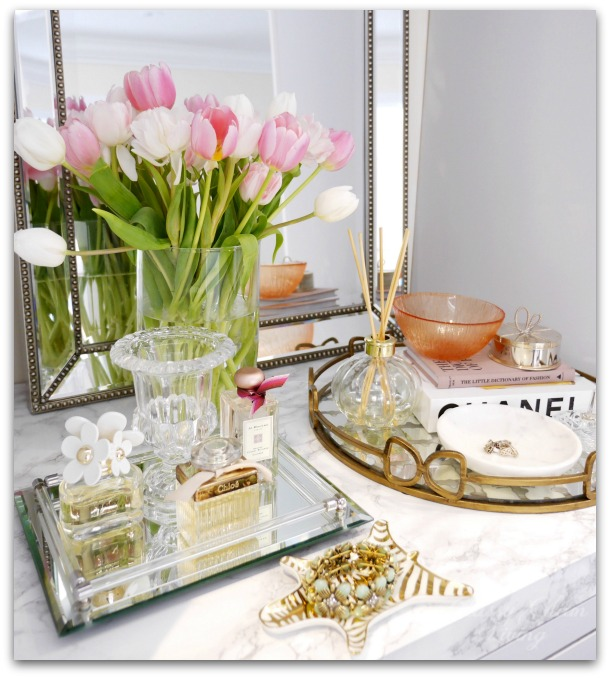 DIY Custom Dressing Room Walk-in Closet | Closet design, built-in vanity | Vanity marble counter top styling Hermes perfume jewelry tray | Classy Glam Living