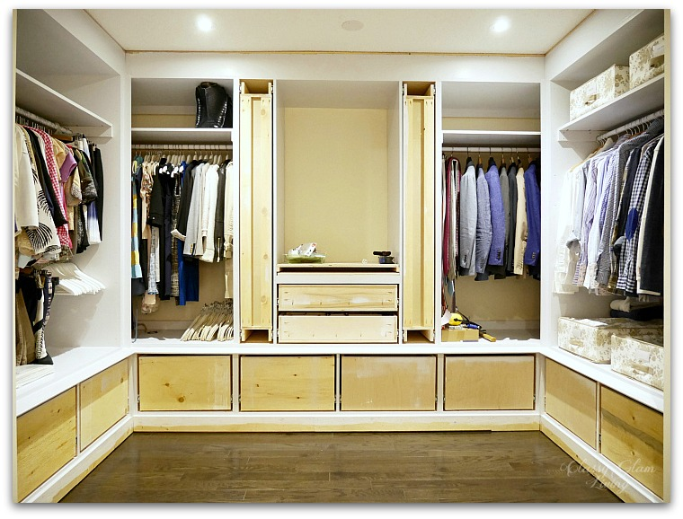 DIY Custom Dressing Room Walk-in Closet | Progress shot framed closet | Classy Glam Living
