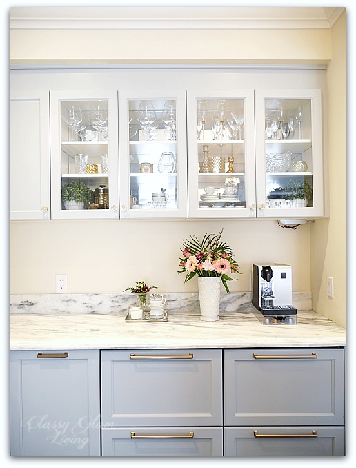 Mirrors - The Luxe Factor in a Kitchen | Acrylic mirror installed onto the back of glass cabinets | Kitchen Design | Classy Glam Living