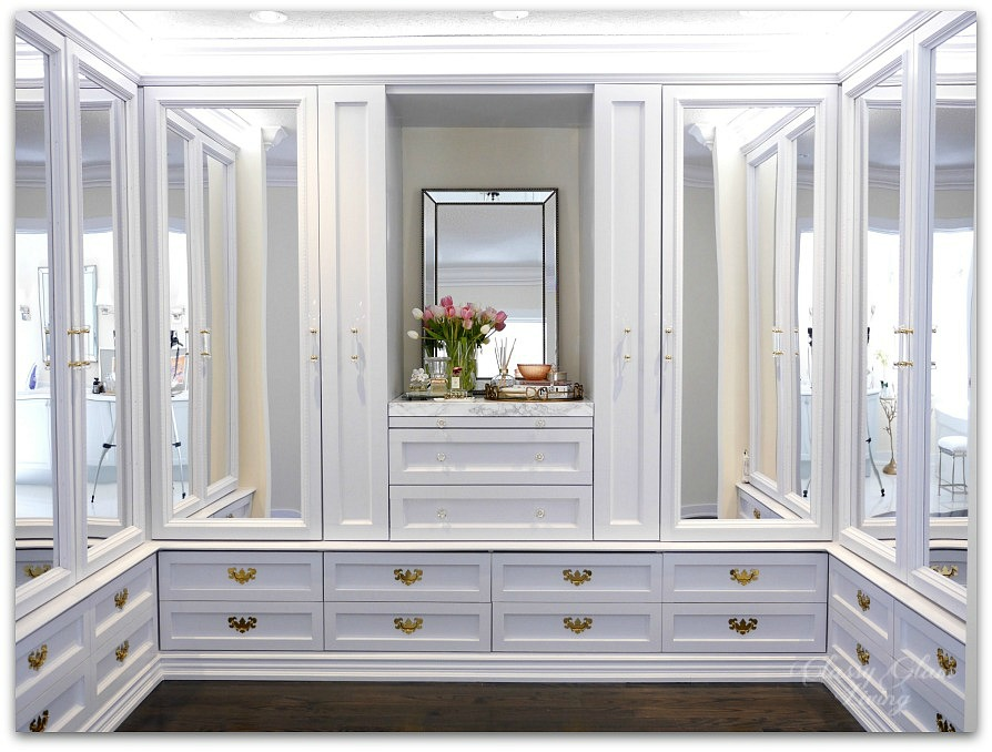 DIY Custom Closet Dressing Room | Acrylic mirror doors | Classy Glam Living