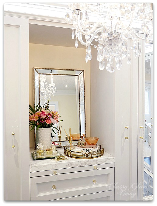 DIY Custom Closet Dressing Room | Crystal chandelier | Vanity marble counter top styling perfume jewelry tray | Classy Glam Living