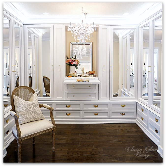 DIY Custom Closet Dressing Room | Crystal chandelier, pull-out folding table, glam DIY walk-in closet | Classy Glam Living