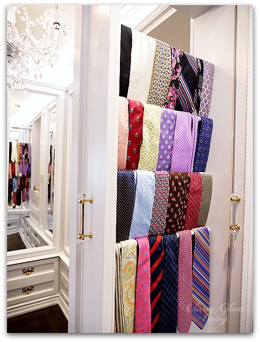 DIY Custom Closet Dressing Room | Pull-out tie rack | Classy Glam Living