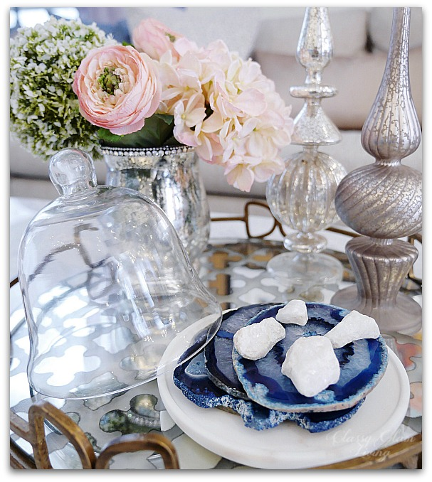 Blue and white decor in living family room | Classy Glam Living