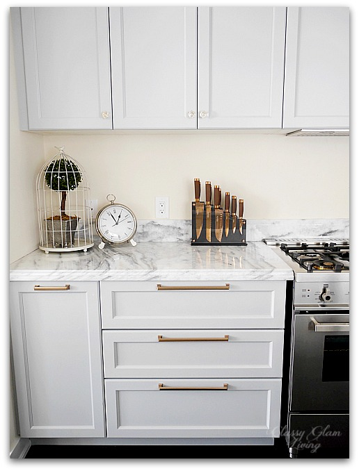 DIY Pots and Pans Drawers | Gray white gold kitchen | Classy Glam Living