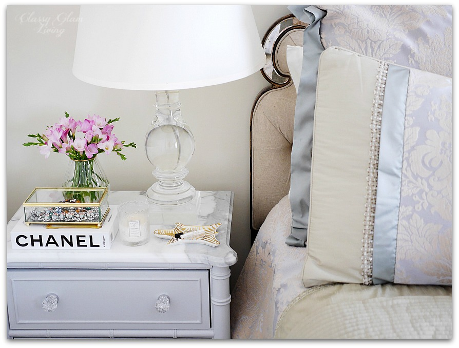 Adding Glam to Your Boudoir - a Blog Hop | vanity decor, glam bedside table decor, glam nightstand decor, jewelry display on nightstand, perfume display on nightstand, glam decor | Classy Glam Living 1