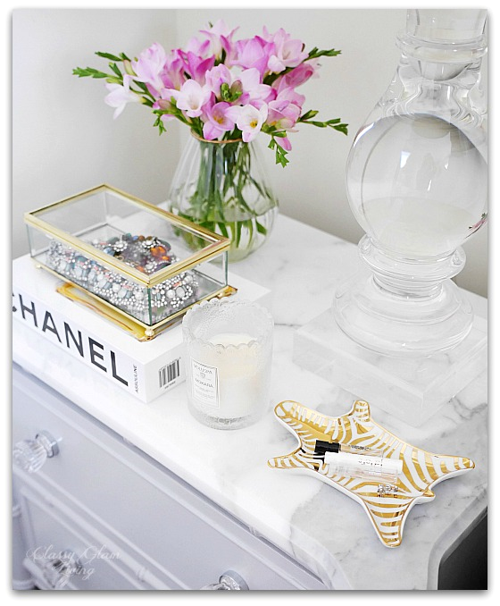 Adding Glam to Your Boudoir - a Blog Hop | vanity decor, glam bedside table decor, glam nightstand decor, jewelry display on nightstand, perfume display on nightstand, glam decor | Classy Glam Living 4
