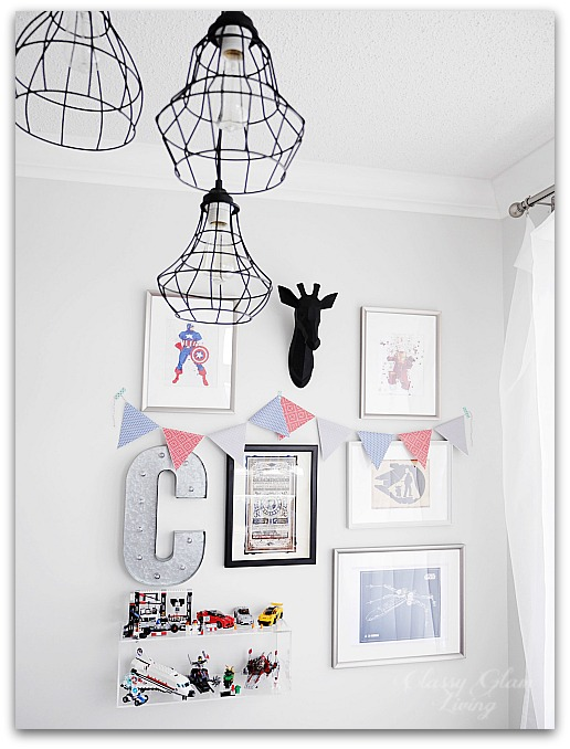 Modern Industrial Playroom Reveal | Restoration Hardware inspired playroom | Kids room decor  | Boys room decor | Playroom whimsical Gallery wall, campaign desk, ghost chair, union jack rug | Classy Glam Living