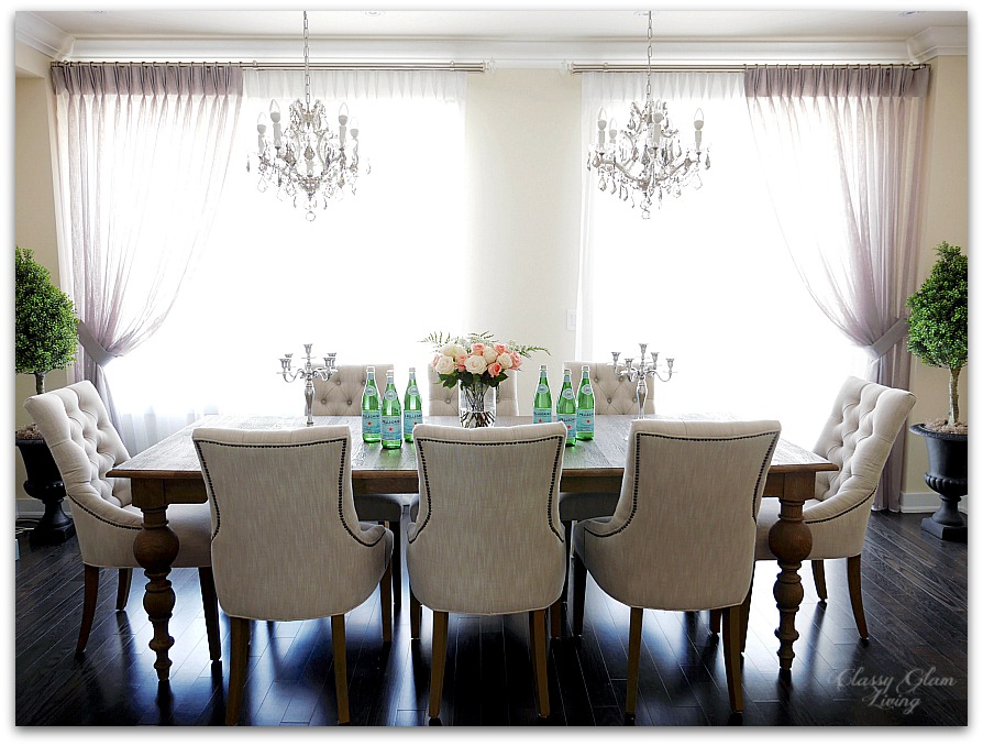 New House Dining Room | Window treatment, double chandelier, symmetrical design | Restoration Hardware | Classy Glam Living