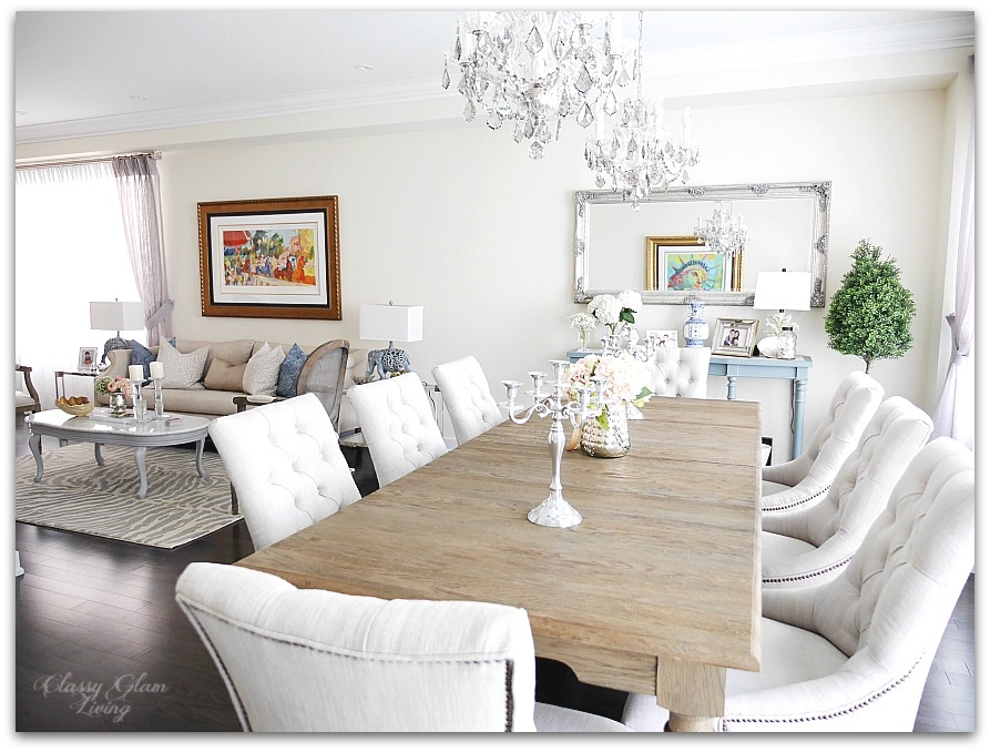 New House Dining Room | Living room seating area | French blue console table, double chandelier | Restoration Hardware | Classy Glam Living
