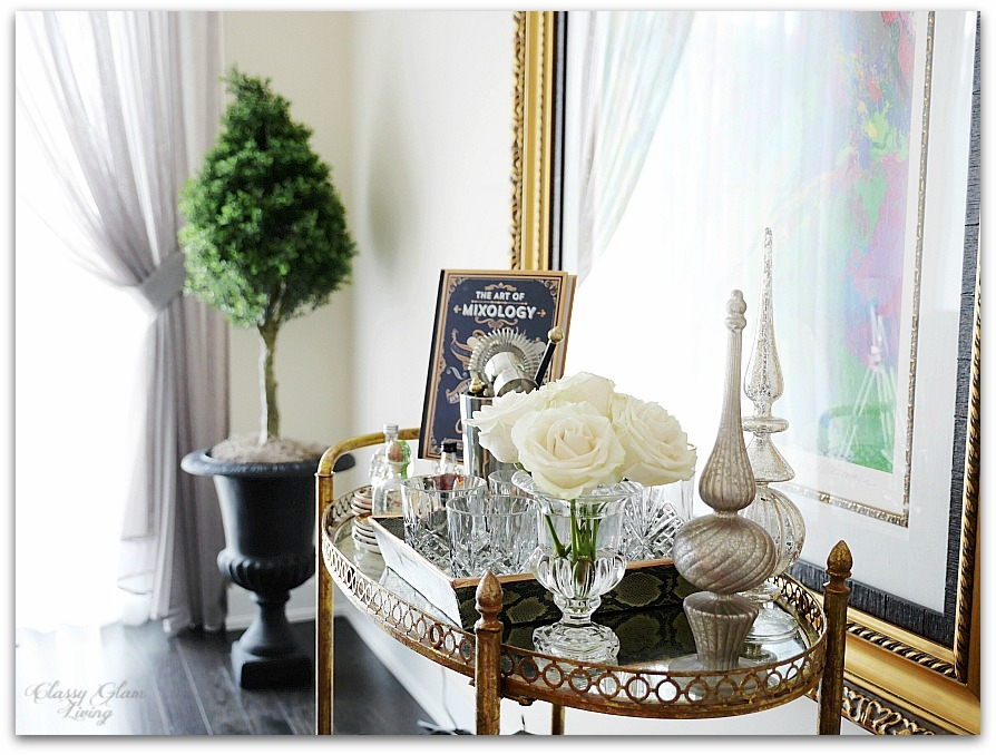 New House Dining Room | Elegant bar cart styling | Classy Glam Living