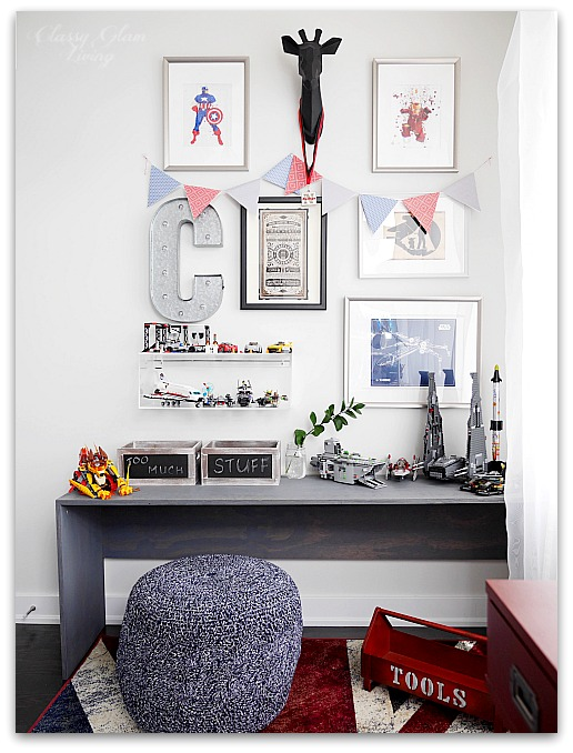 Modern Industrial Playroom Reveal | Gallery Wall, work bench, pouf | Kid's room Kid's space | Classy Glam Living