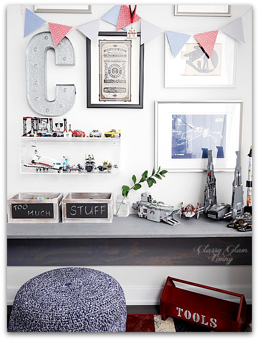 Modern Industrial Playroom Reveal | Gallery Wall, CB2 acrylic box shelf | Kid's room Kid's space | Classy Glam Living
