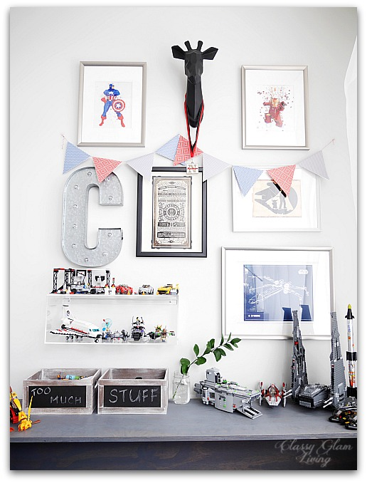 Modern Industrial Playroom Reveal | Gallery Wall, CB2 acrylic box shelf, work bench | Kid's room Kid's space | Classy Glam Living