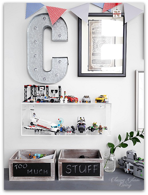 Modern Industrial Playroom Reveal | Playroom whimsical Gallery Wall, CB2 acrylic box shelf | Kid's room Kid's space | Classy Glam Living