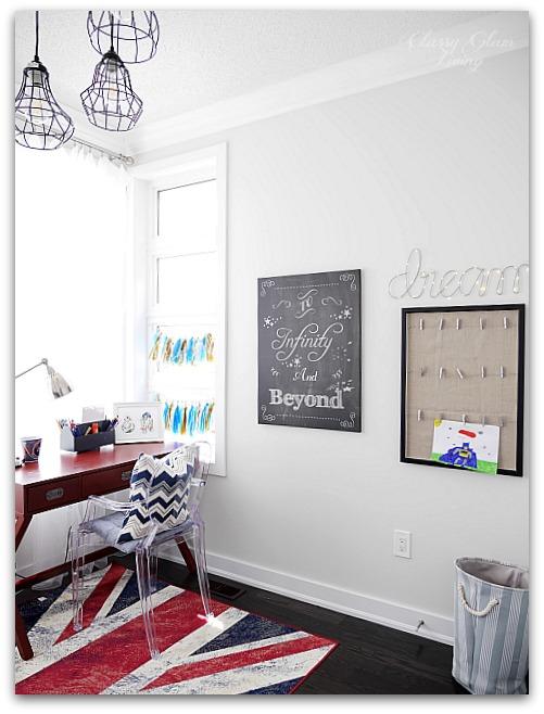 Modern Industrial Playroom Reveal | ghost chair, campaign desk, chalkboard art, art display | Kid's room Kid's space | Classy Glam Living