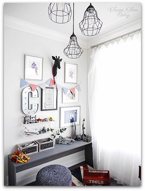 Modern Industrial Playroom Reveal | Gallery Wall, cage lights, CB2 acrylic box shelf | Kid's room Kid's space | Classy Glam Living