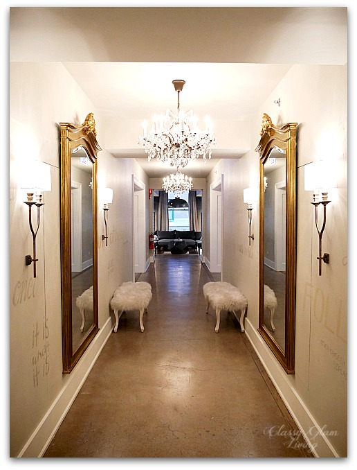 Restoration Hardware Chicago - Gallery + 3 Arts Club Cafe | Hallway mirror chandeliers sconces | Classy Glam Living