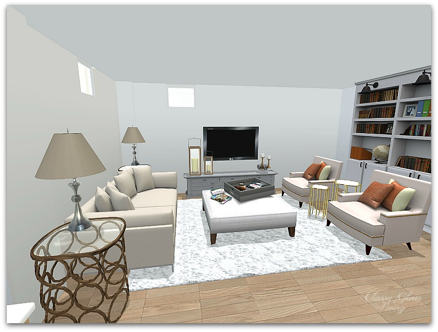 Basement Family Room Layout | IHomeRegistry | Classy Glam Living Photo Gallery