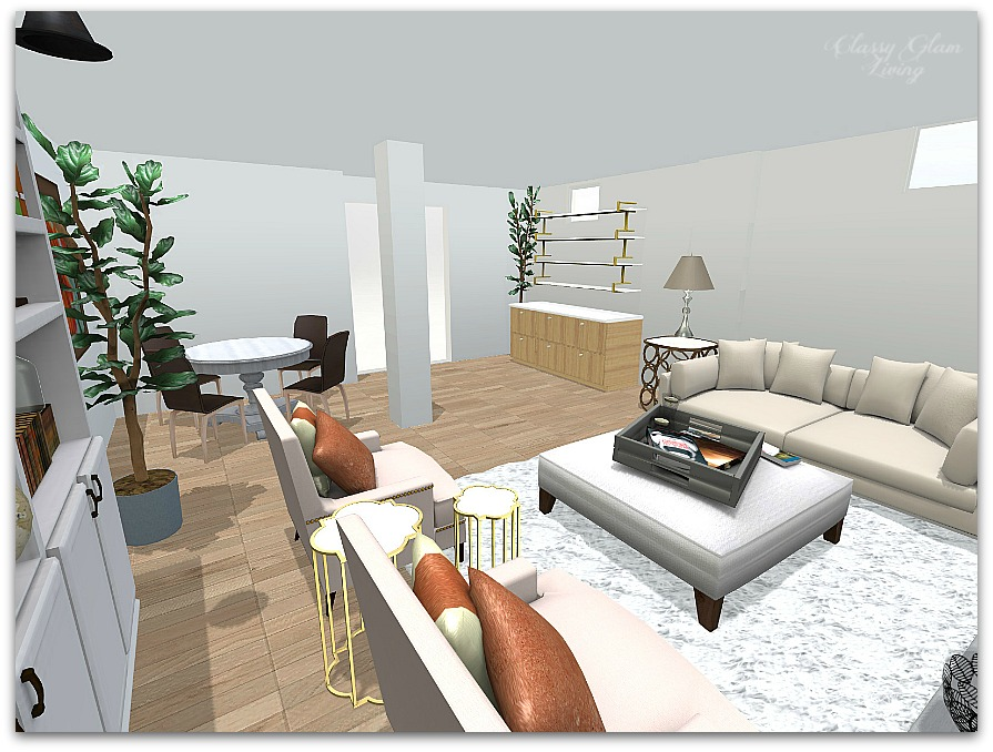Basement Family Room Layout | iHomeRegistry | Classy Glam Living