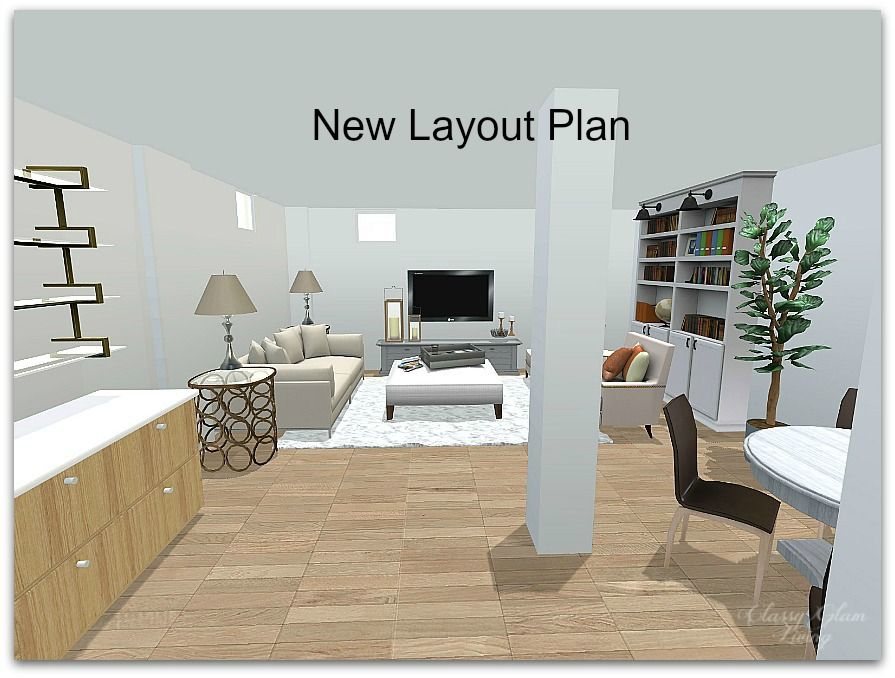 Plan For Our Basement Family Room Classy Glam Living - Family room layout planner