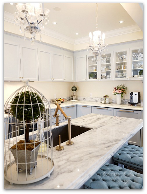New House Kitchen | Glass cabinets mirror back cabinet hardware | Classy Glam Living