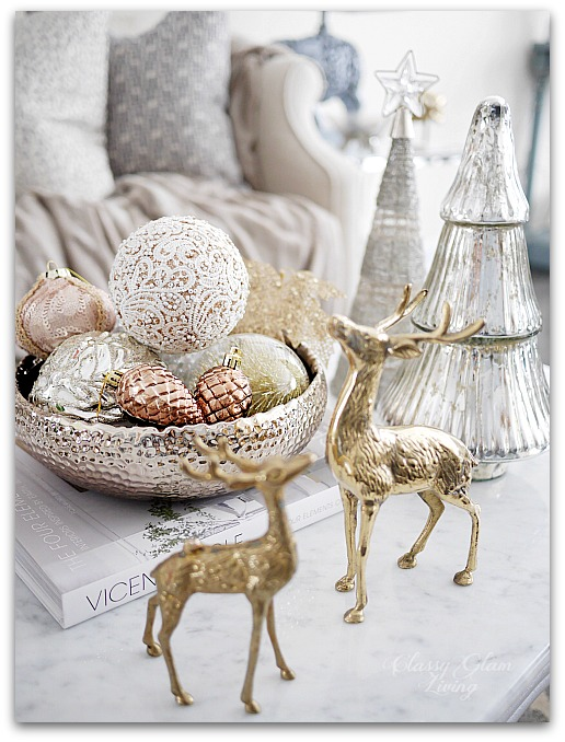 Mixed Metallics Christmas Decorations Coffee Table Styling with ornaments | Classy Glam Living 2