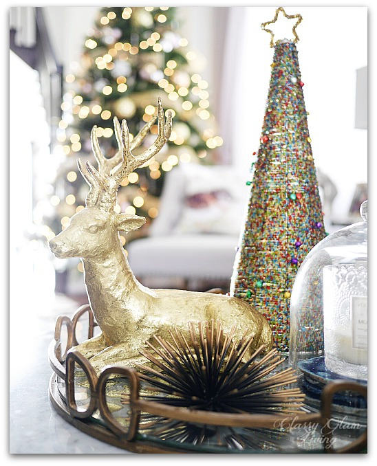 Mixed Metallics Christmas Decorations Coffee Table Styling Gold Reindeer | Classy Glam Living