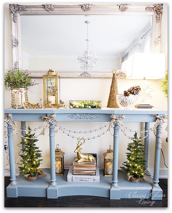 Mixed Metallics Christmas Decorations dining room console table sideboard | Classy Glam Living 2