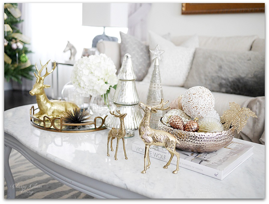 Mixed Metallics Christmas Coffee Table Styling | Classy Glam Living 2