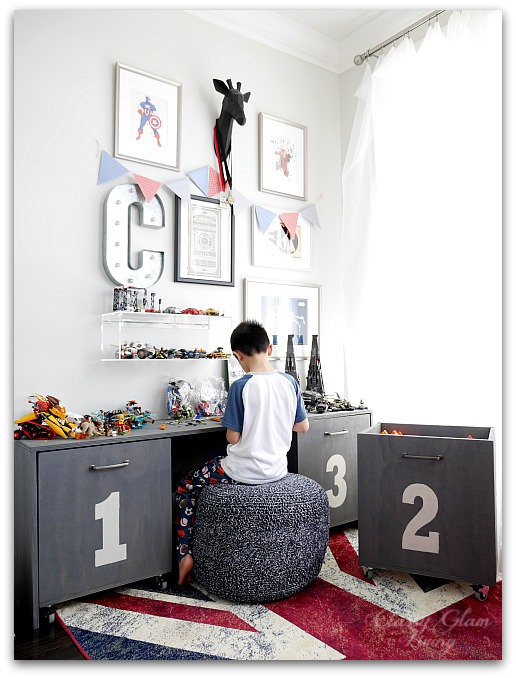 DIY Playroom Storage Unit with Workbench | Classy Glam Living