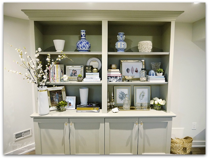 DIY BOOKSHELF BUILT-IN CABINET FRONT VIEW | CLASSY GLAM LIVING