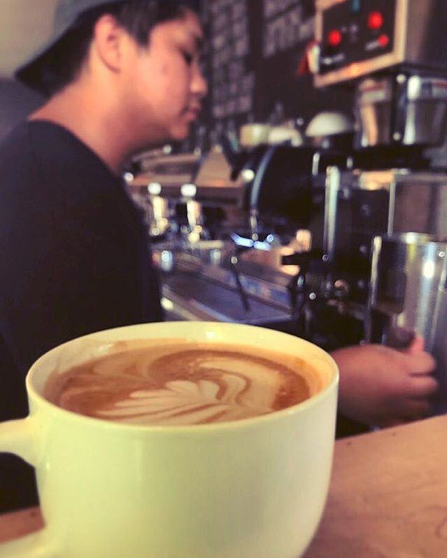 "Barista spotlight of the week: Neil Zagada! ""My favorite drink would be the lavender americano. My hobbies include long walks on the beach, apple picking, and sniffing scented candles. When I'm not being a barista at both milk and honey locations, I play in a groovy surf/skate punk band @scatterbrainband"""