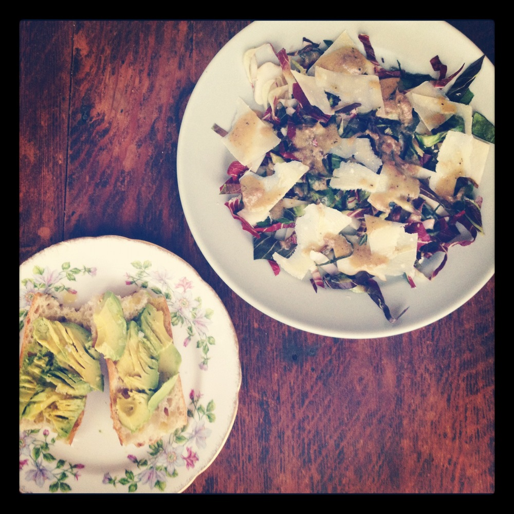 avocado toast & radiccio salad w/ anchovy dressing