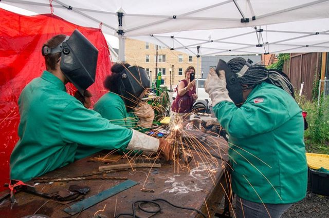 MSW apprentices work together to weld a sculpture as a proud mom looks on. #weldforcommunity #pittsburgh #fabrication #industrialart #publicart #weld #welding #metal #steel 📷: @murphyleemoschetta