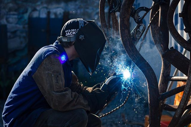 MSW apprentice putting some final touches on the rocking horse. #weld #welding #fabrication #industrialart #pittsburgh #metal #weldforcommunity