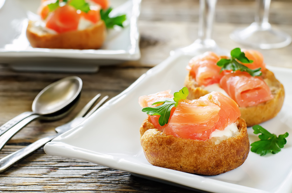 Salmon and Cream Cheese Profiteroles