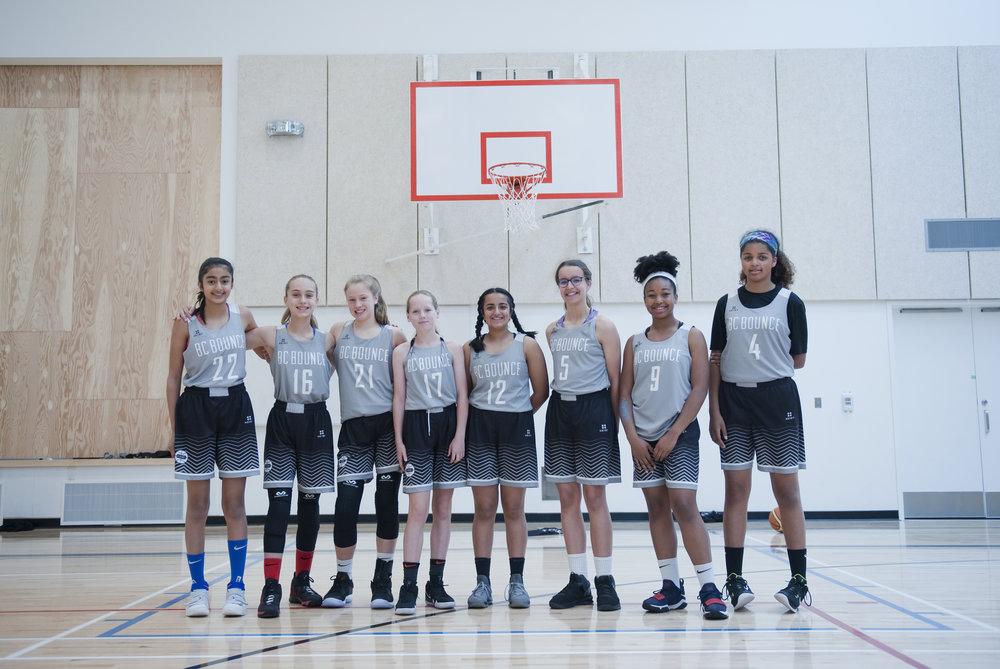 BC Bounce U13 Black - 2018    Lt to Rt: Nim Dhesi, Caleigh Reimer, Maggie Curtis, Jenna VanderHoek, jaya Sidhu, Bree Izbicki, Samara Mason, Annie Hildebrand