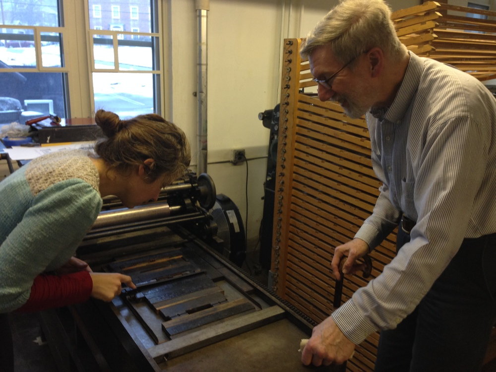 Marcie and Jim working on the Challenge press.