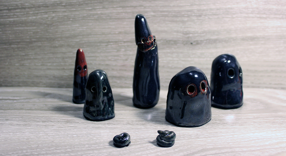 """shitty little ghosts"" ceramic, 2014"