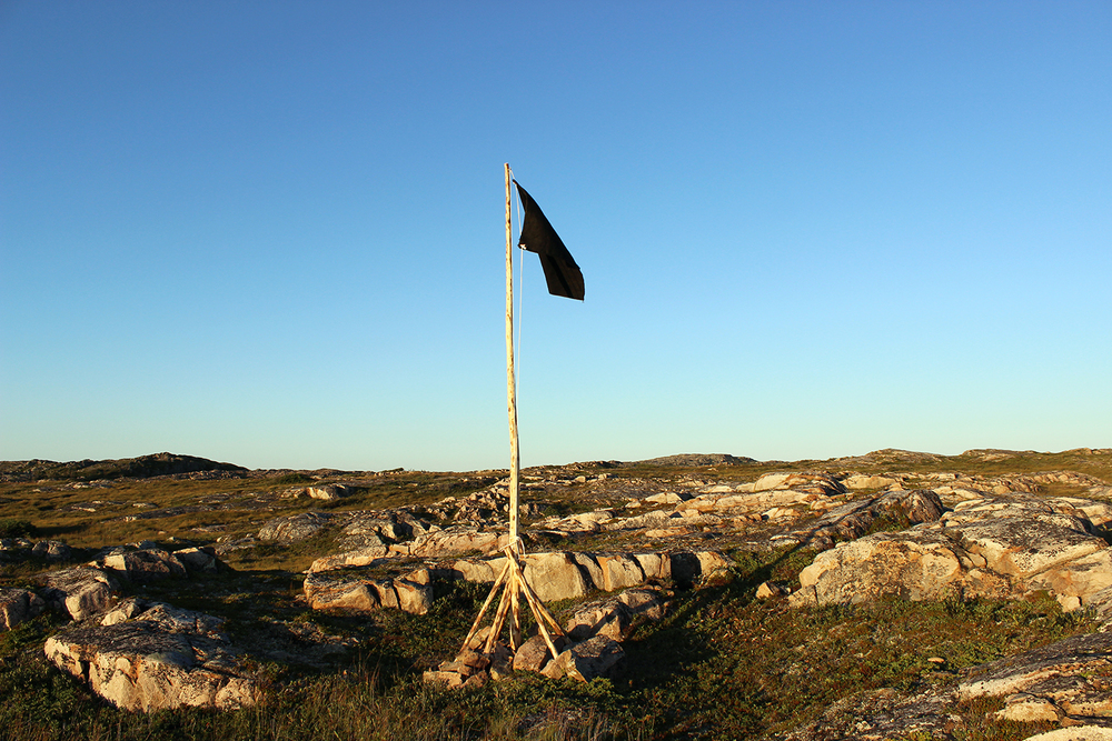 """blackflag (fogo island)"" wood, nails, rope, burlap, paint. Impermanent public sculpture,  2013"