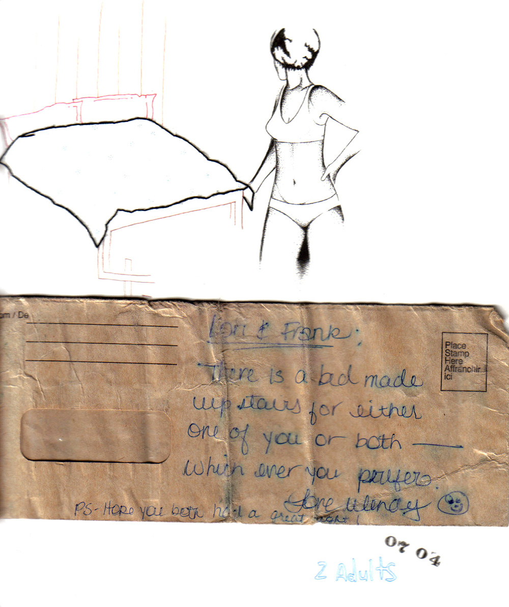 """there is a bed made upstairs..."" ink, embroidery, and found note on paper, 2003"