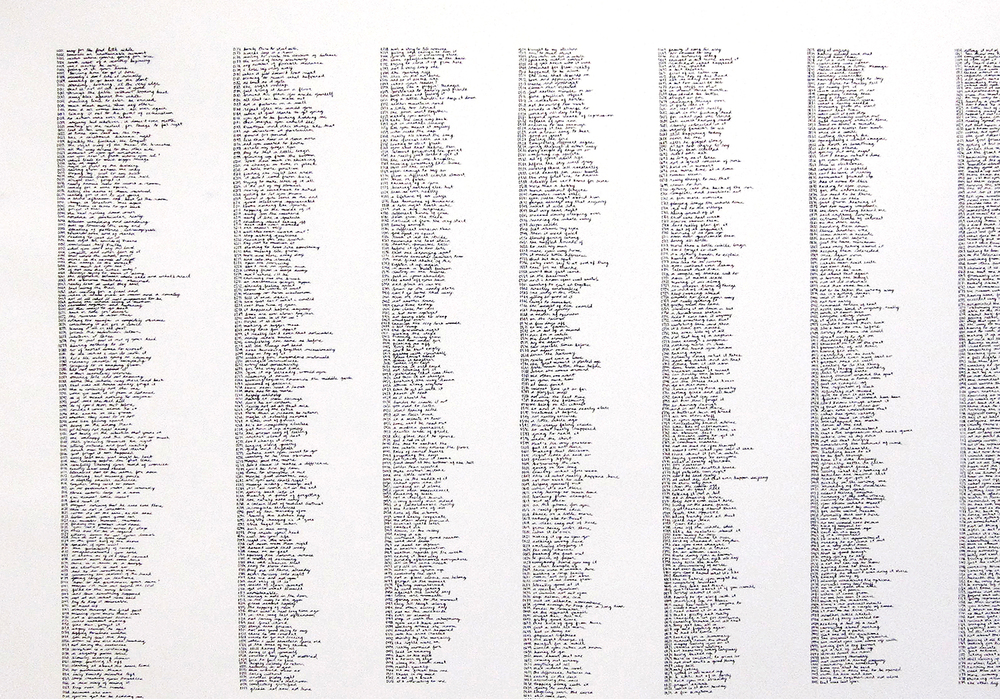 """everything before all this (list in black)"" paint-marker on paper, (view in-detail) 2008"